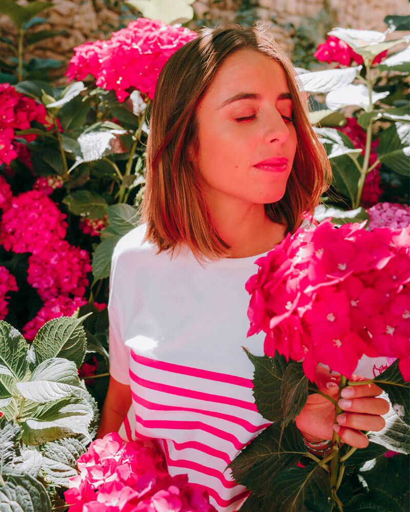 marinière rose manches courtes