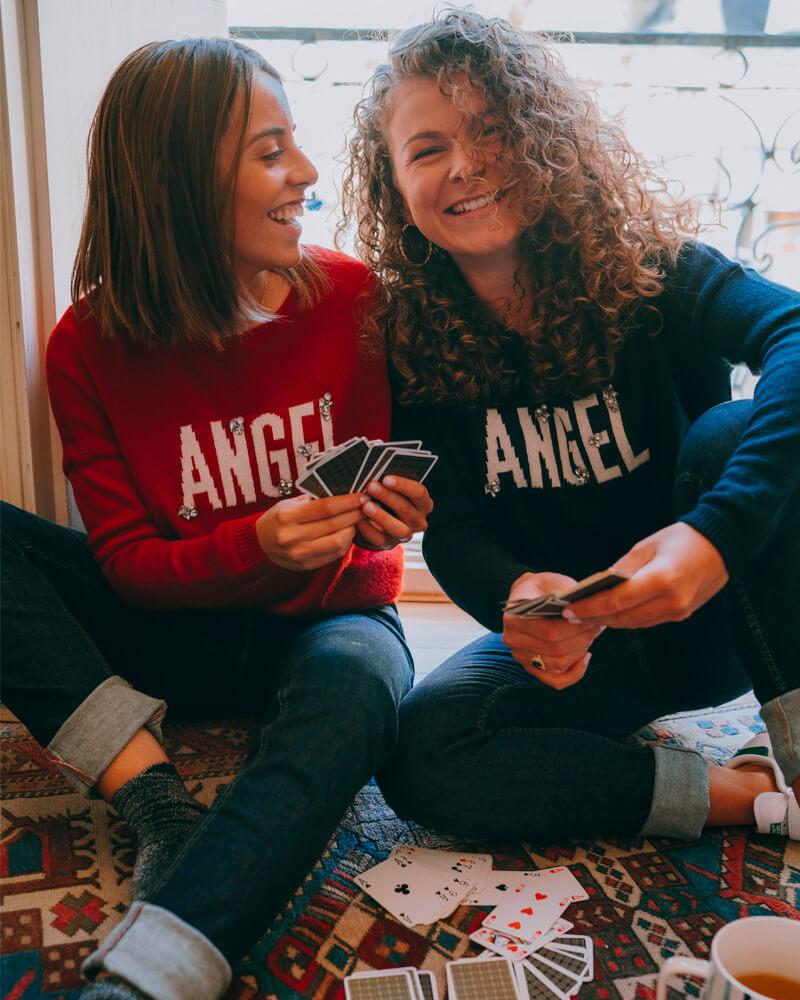 pull-carole-laine-message-angel-bleu-et-grenat
